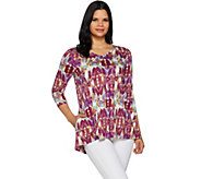 LOGO by Lori Goldstein Cotton Slub Printed Top w/ V-Neck Detail - A290505
