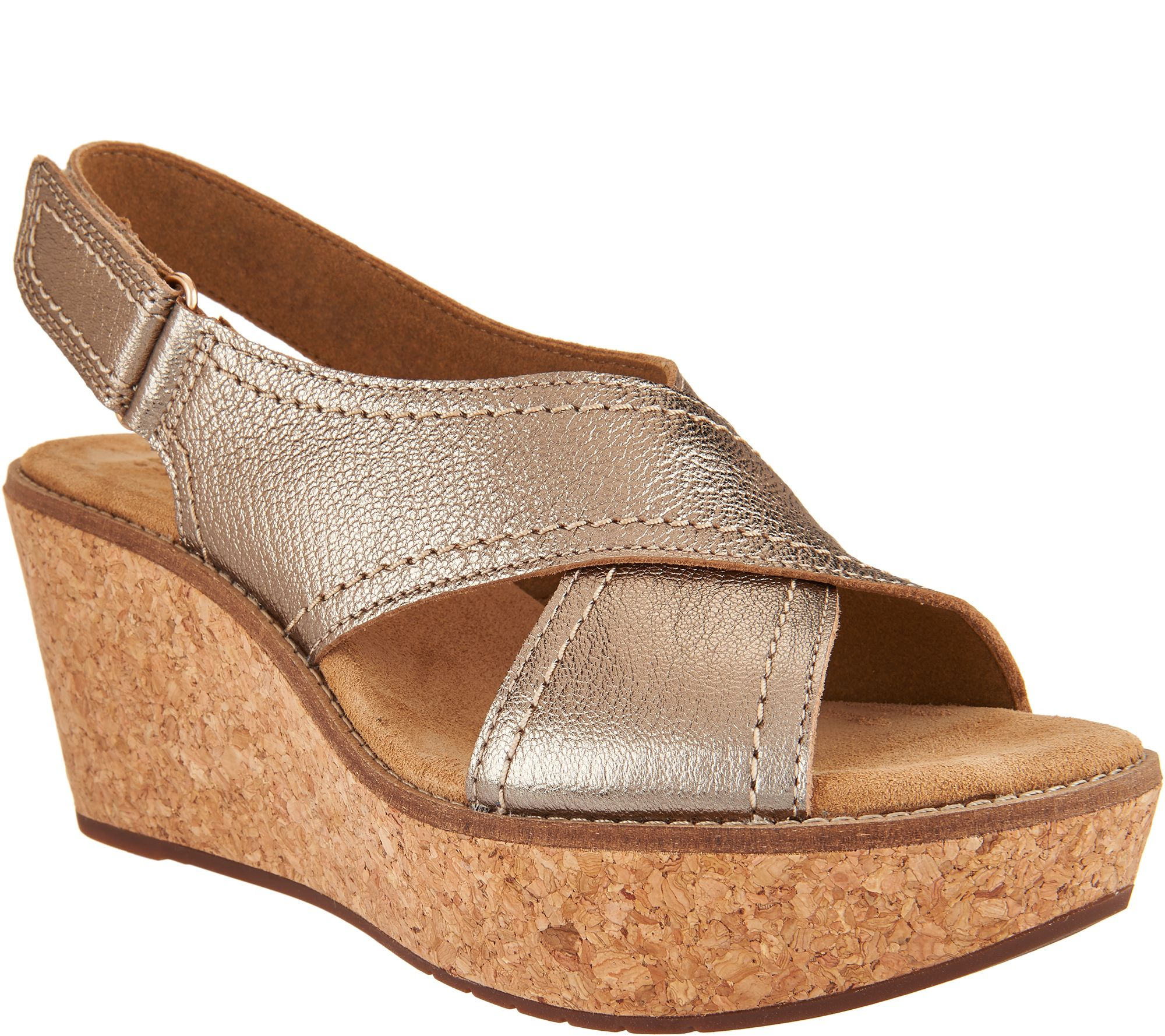 bb38d8ec7f9 Clarks Artisan Leather Cross Band Wedge Sandals - Aisley Tulip - Page 1 —  QVC.com