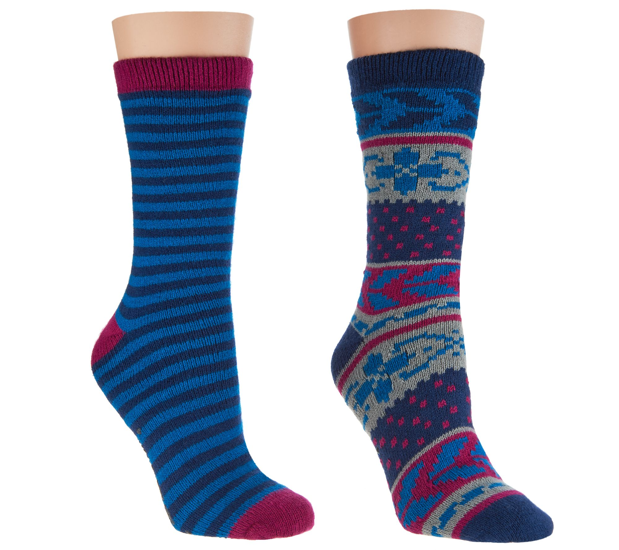 76359e760 MUK LUKS Cozy-Lined Socks Set of 2 - Page 1 — QVC.com