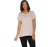 AnyBody Loungewear Cozy Knit Short Sleeve Split Back Tee - A302305