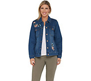 Studio by Denim & Co. Embroidered Button Front Jean Jacket - A305405