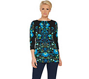 Susan Graver Printed Liquid Knit Bateau Neck Top - A306505