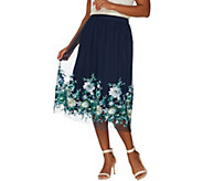 Du Jour Pull-On Floral Embroidered Mesh Midi Skirt - A307205