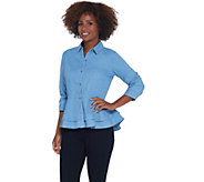 Joan Rivers Button Front Denim Shirt w/ Peplum Detail - A310905