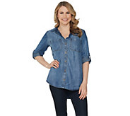 As Is Side Stitch Tencera Button Front Long Sleeve Roll-Tab Top - A343005