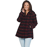 Joan Rivers Button Front Plaid Swing Coat - A343505