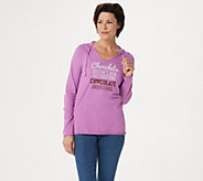 Life is Good Graphic Long Sleeve Hooded Smooth Tee - A347605