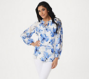 Dennis Basso Printed Woven Peasant Top & Knit Camisole - A349305