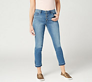 Vince Camuto Button Front High-Rise Split Leg Ankle Jean - Spectrum Blue - A350005
