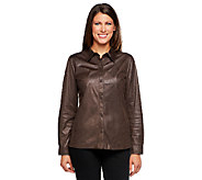Susan Graver Textured Faux Suede Button Front Shirt - A216306