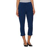 Isaac Mizrahi Live! Regular Knit Denim Pull-On Crop Jeans - A272906
