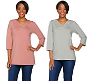 Denim & Co. Essentials V-neck 3/4 Sleeve Top & Tunic Set - A279906