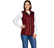 Susan Graver Zip Front Sweater Vest with Quilting Detail - A280306