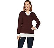 Kelly by Clinton Kelly Mock-Layer V-Neck Sweater - A283506