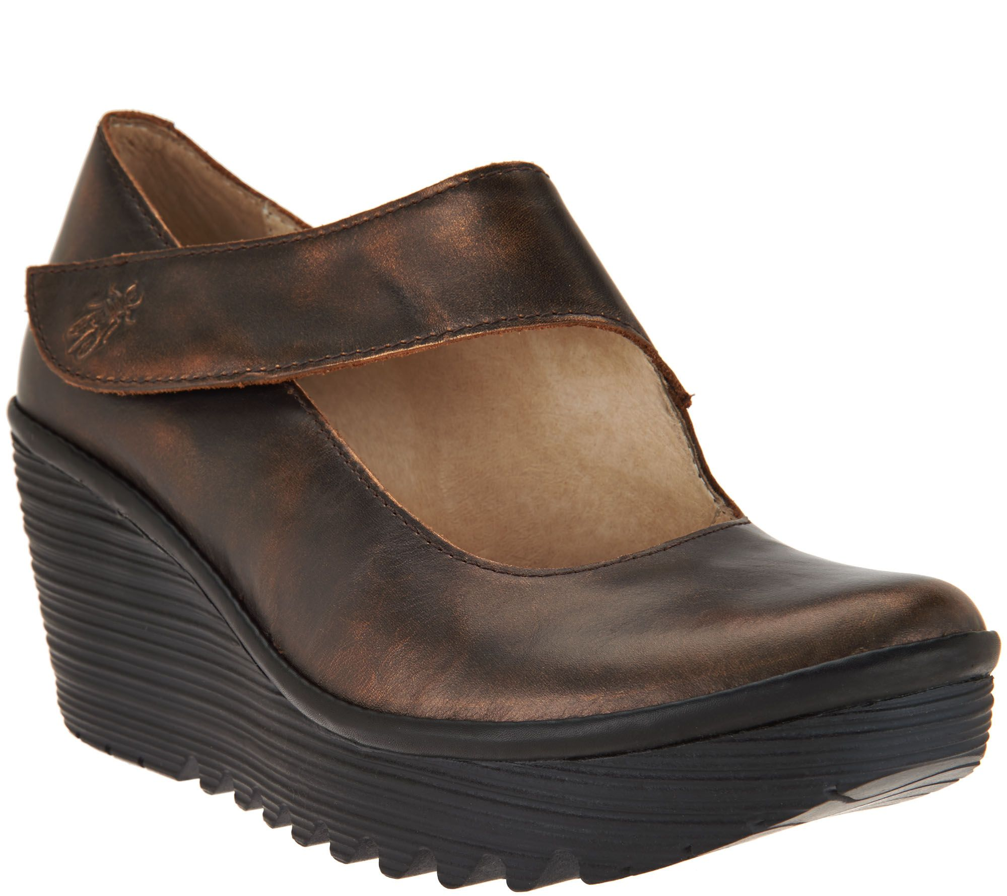 05377f5cf0e FLY London Leather Wedge Mary Janes - Yasi — QVC.com