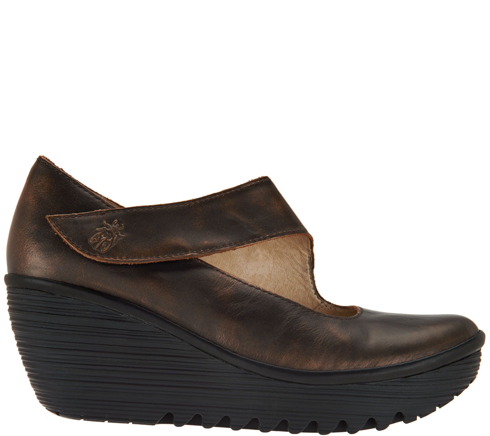 FLY London Leder Wedge Mary Janes Yasi Page 1 —  QVC  — 8763f0