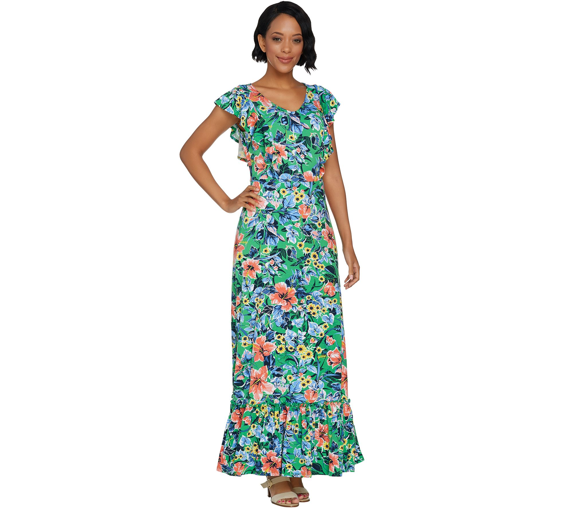 1b4a92154d1 C. Wonder Regular Tropical Floral Print Knit Maxi Dress - Page 1 — QVC.com