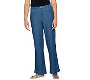 Denim & Co. Stretch Wide Leg Full Length Chambray Pants - A292506