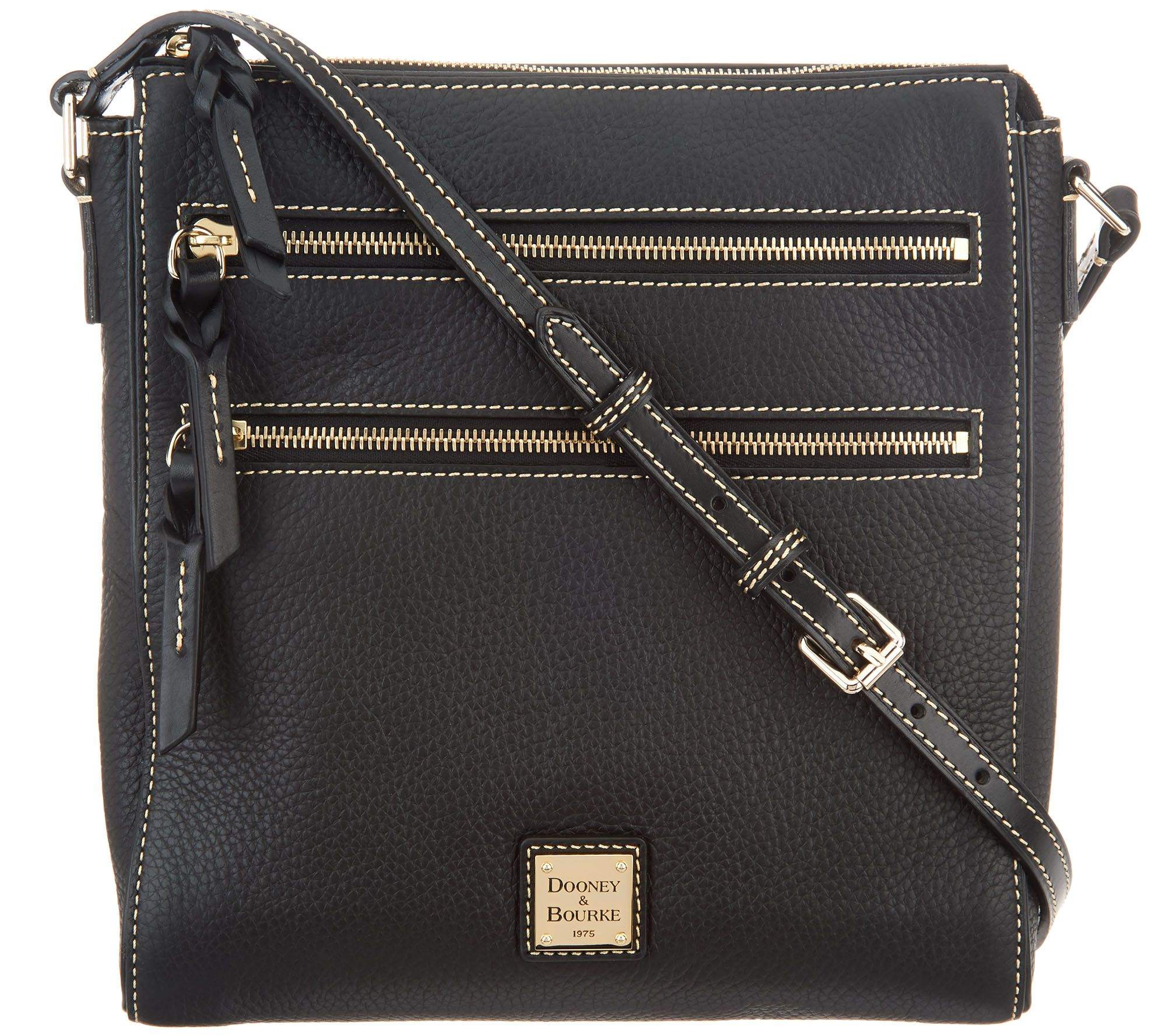 ca2c85f7 Dooney & Bourke Pebble Leather Triple Zip Crossbody Handbag — QVC.com