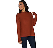 AnyBody Loungewear Ribbed Brushed Hacci Soft Funnel Neck Top - A297306