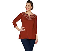 LOGO by Lori Goldstein Cotton Slub Top w/ Embroidered Neck - A299606