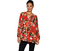 Du Jour Floral Printed Long Sleeve Tunic - A300206