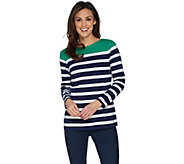 Denim & Co. Placed Stripe Boat Neck Long Sleeve Top - A301106