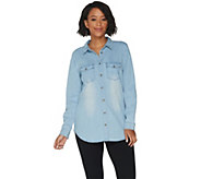 Belle by Kim Gravel Stretch Lyocell Boyfriend Shirt - A301606