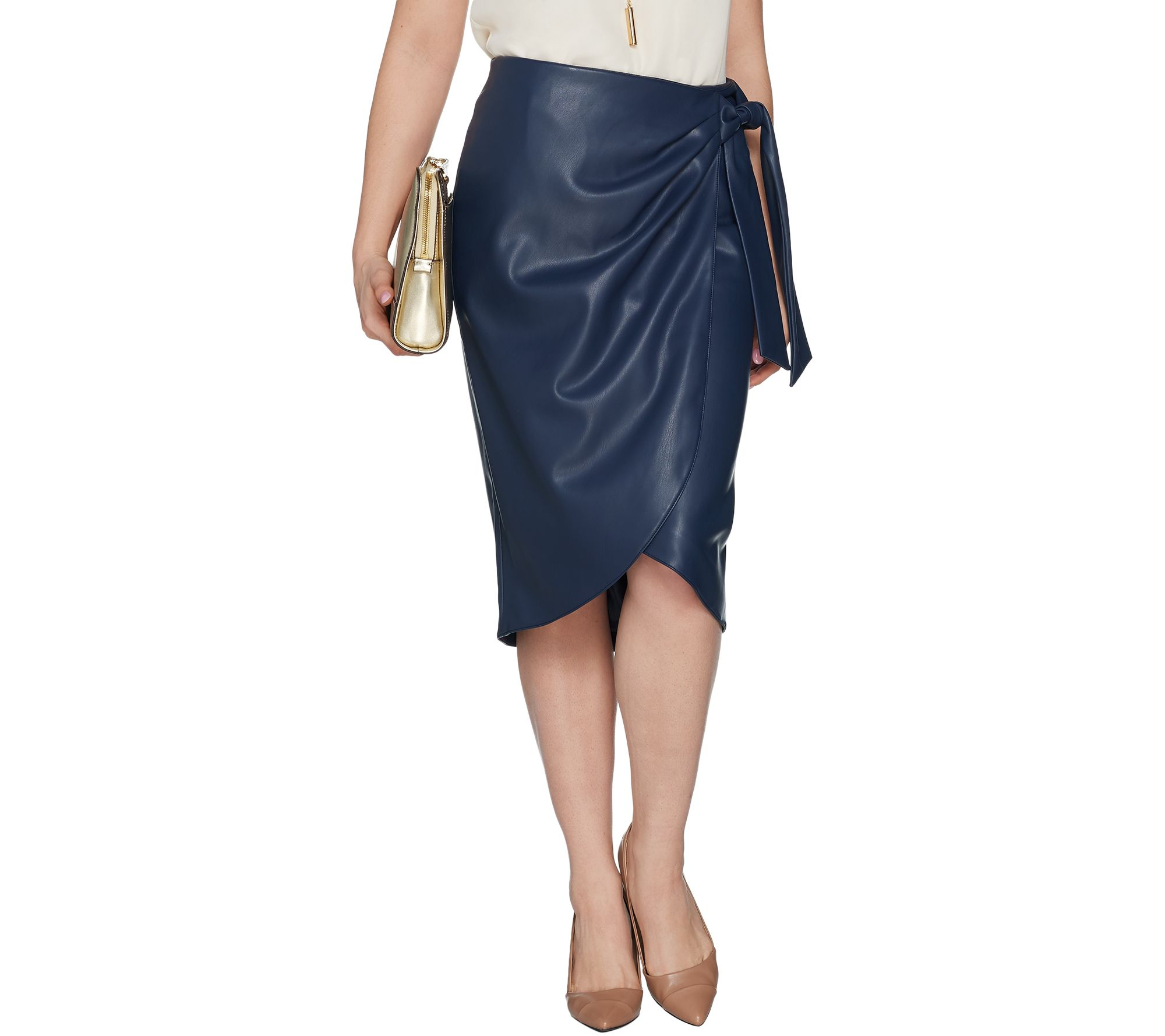 bdf31d2fa4 G.I.L.I. Side Tie Faux Leather Skirt - Page 1 — QVC.com