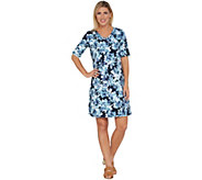 Isaac Mizrahi Live! SOHO Elbow Sleeve Floral Printed T-Shirt Dress - A305206