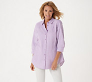 Joan Rivers 3/4 Sleeve Seersucker Shirt w/ Back Button Detail - A306406