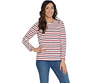 Denim & Co. Striped Perfect Jersey Round-Neck Long Sleeve Top - A309306