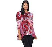 LOGO by Lori Goldstein Mixed Print Knit Top with Chiffon Hem - A309806