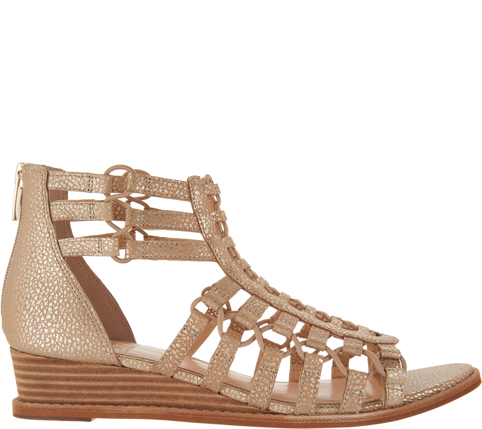 Quot As Is Quot Vince Camuto Leather Gladiator Wedge Sandals