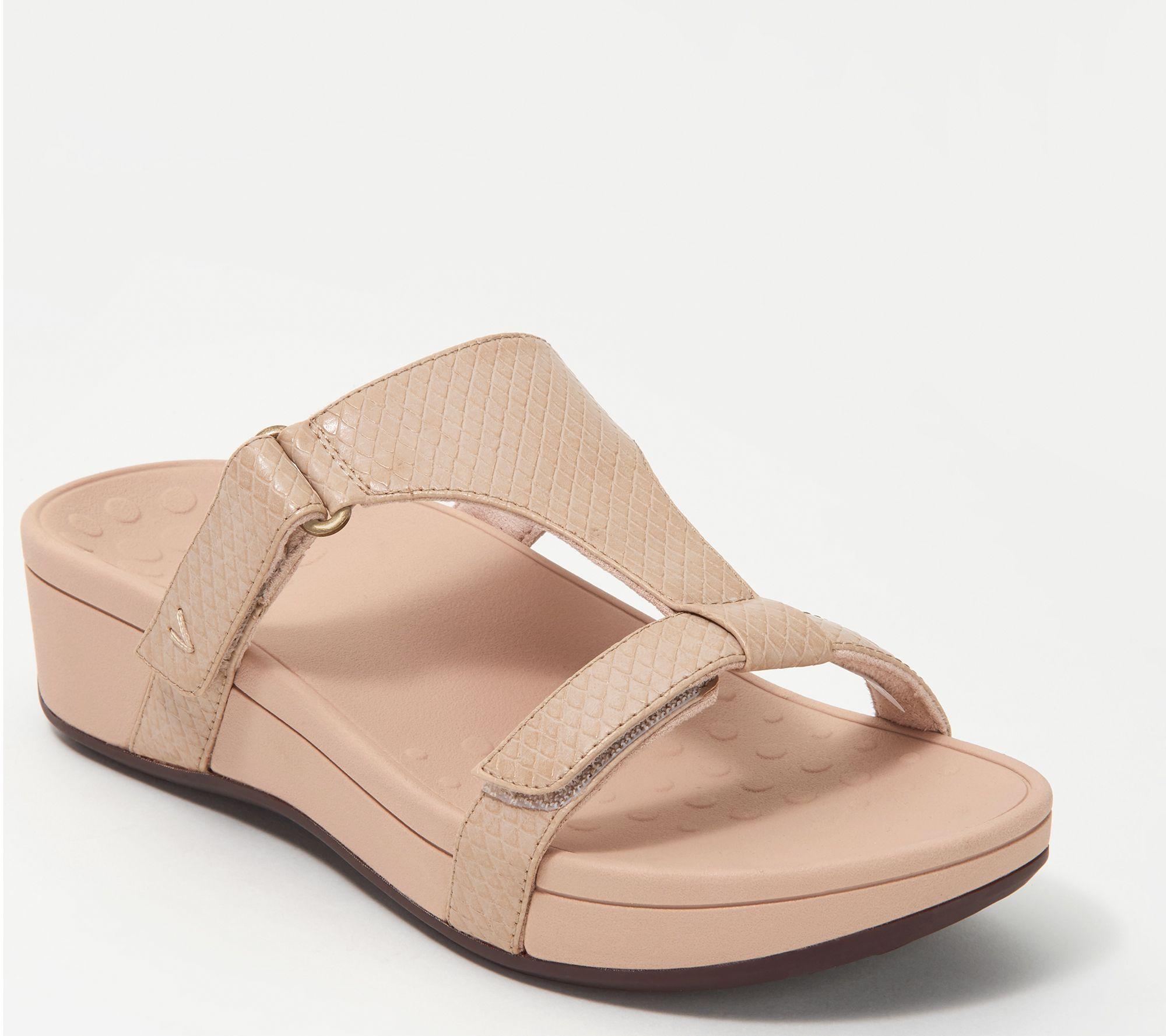 7ca51523574ff Vionic Adjustable Embossed Platform Slide Sandals - Ellie — QVC.com