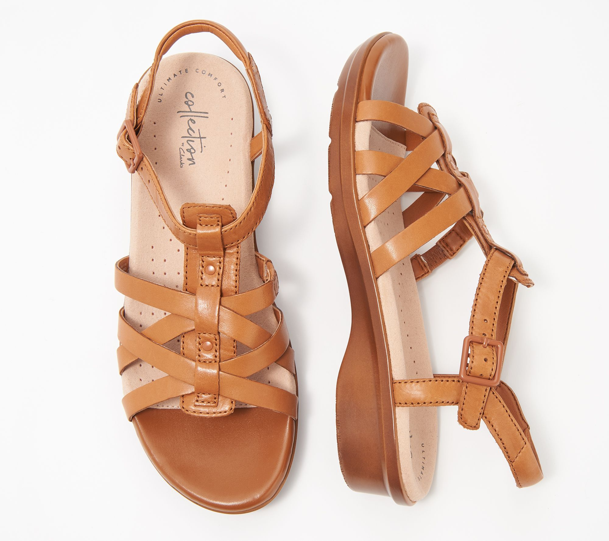 bee81d5a50b Clarks Collection Leather Sandals - Loomis Katey - Page 1 — QVC.com