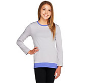 LOGO Littles by Lori Goldstein Knit Top with Contrast Trim and Pockets - A257807