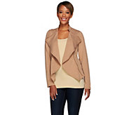 Lisa Rinna Collection Open Front Knit Jacket with Zipper Detail - A268107
