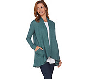 LOGO by Lori Goldstein Waffle Knit Cardigan with Patch Pockets - A282807