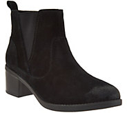 Clarks Suede Stacked Heel Ankle Boots - Nevella Bell - A284607