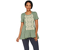 LOGO Lounge by Lori Goldstein French Terry Top with Lace Front - A288007
