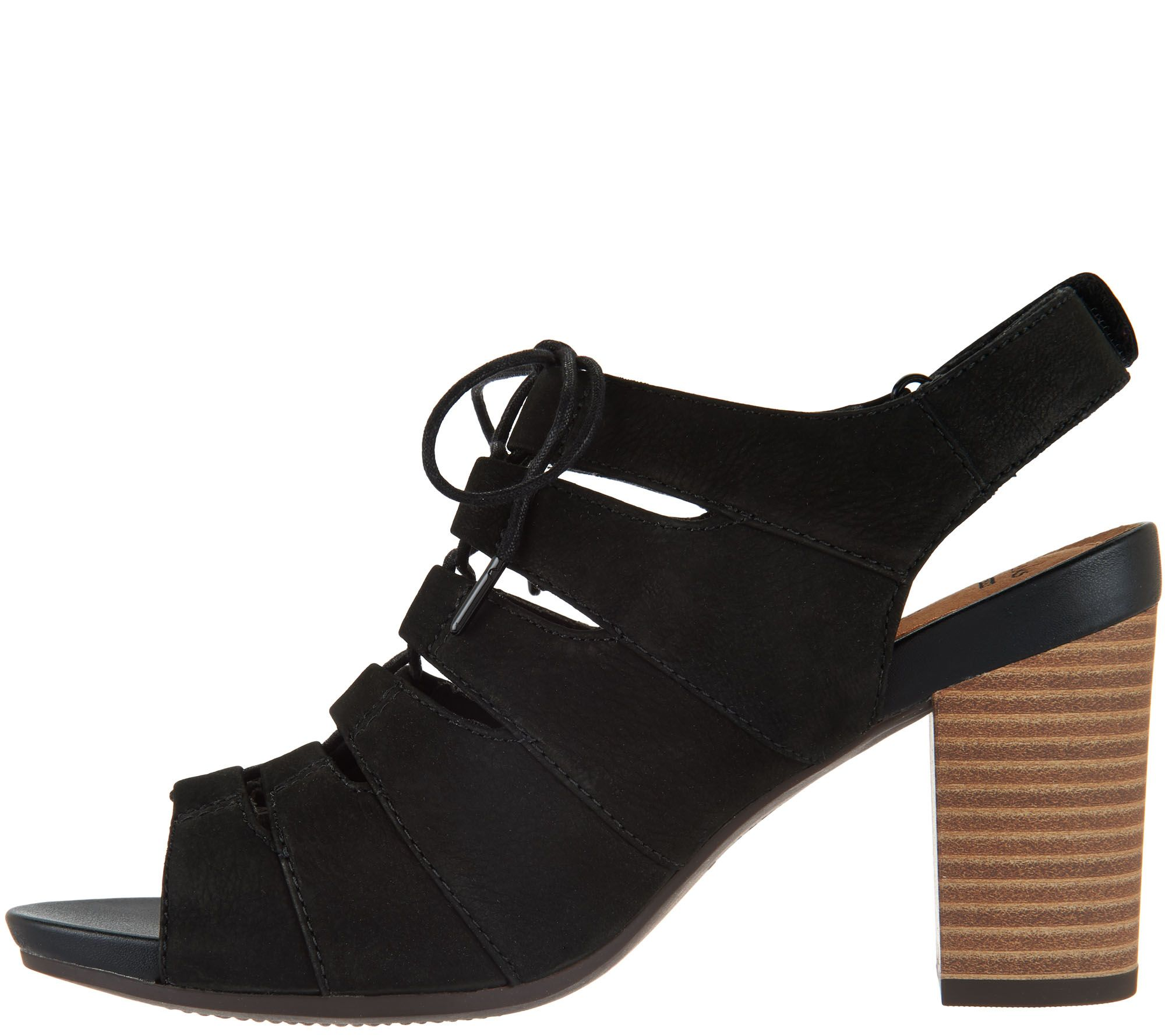 260fc7be654 Clarks Nubuck Leather Block Heel Ghillie Sandals - Banoy Wanetta - Page 1 —  QVC.com