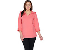 Denim & Co. Active Hooded Tunic with Roll Tab Sleeves - A288707