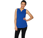 Denim & Co. Active Slub Sleeveless Split V Neck Tunic Top - A290107