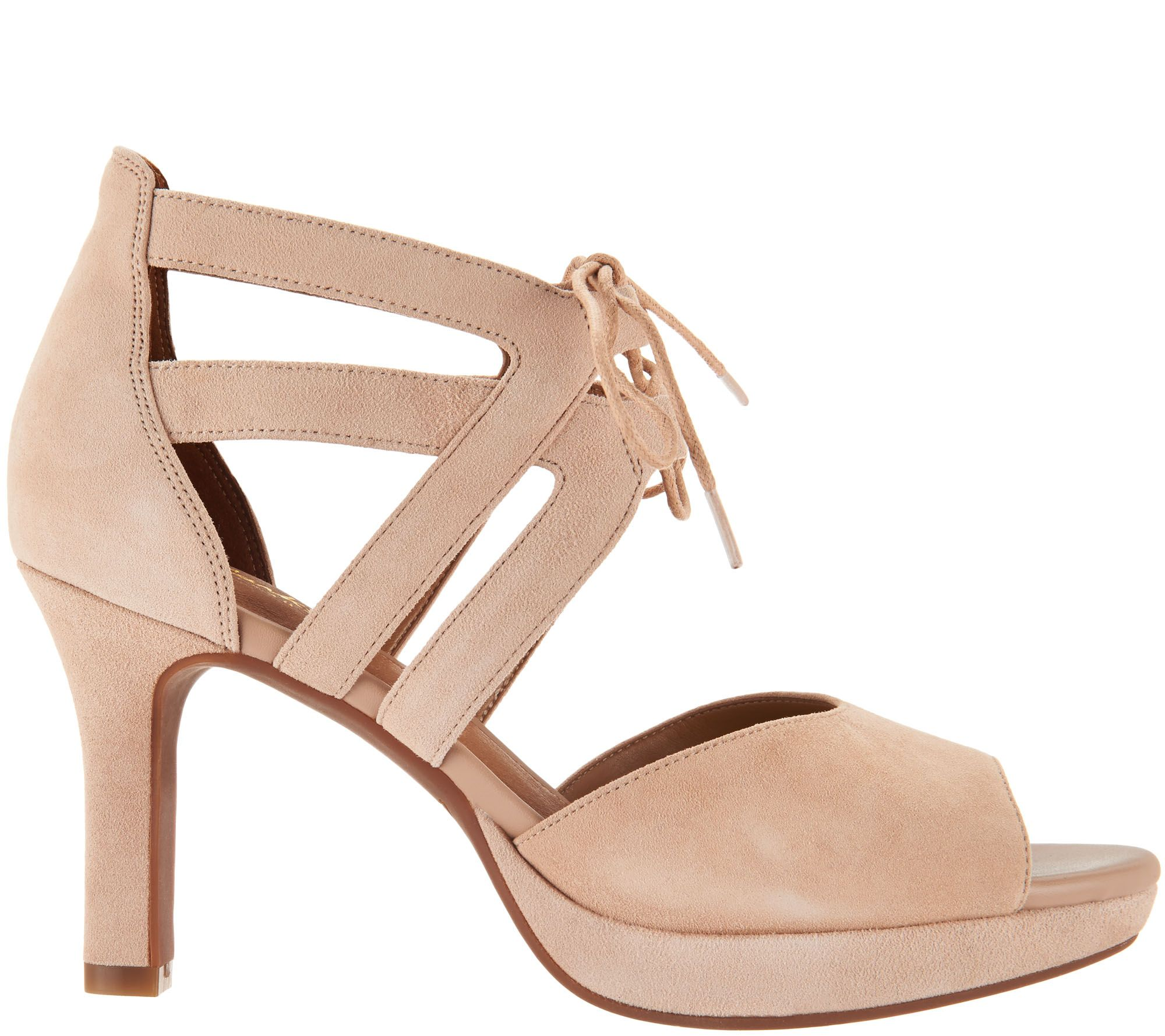 db1e3851f1d Clarks Artisan Suede Heeled Sandals w  Tie Detail - Mayra Ellie - Page 1 —  QVC.com