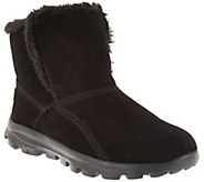 As Is Skechers GOWalk Suede Faux Fur w/Goga Mat - Dazzling - A291307