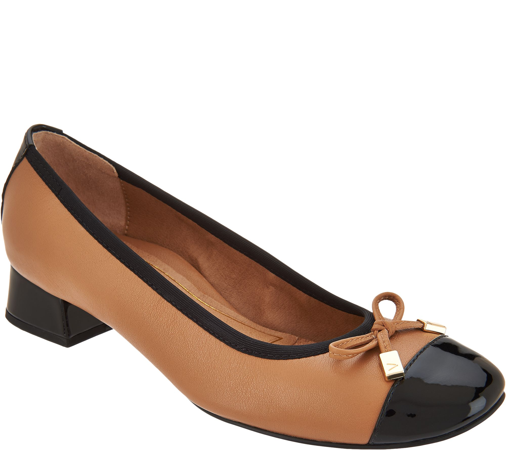 0658982ebeef Vionic Leather Block Heel Pumps - Daphne - Page 1 — QVC.com