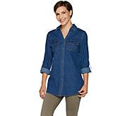 Denim & Co. Button Front Y-Neck Roll-Tab Long Sleeve Denim Shirt - A296107