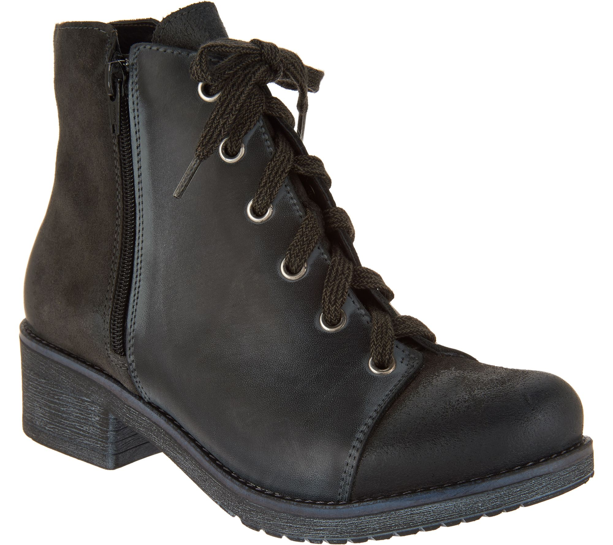 9883b817b56e2 Naot Leather and Suede Lace-up Ankle Boots - Groovy - Page 1 — QVC.com