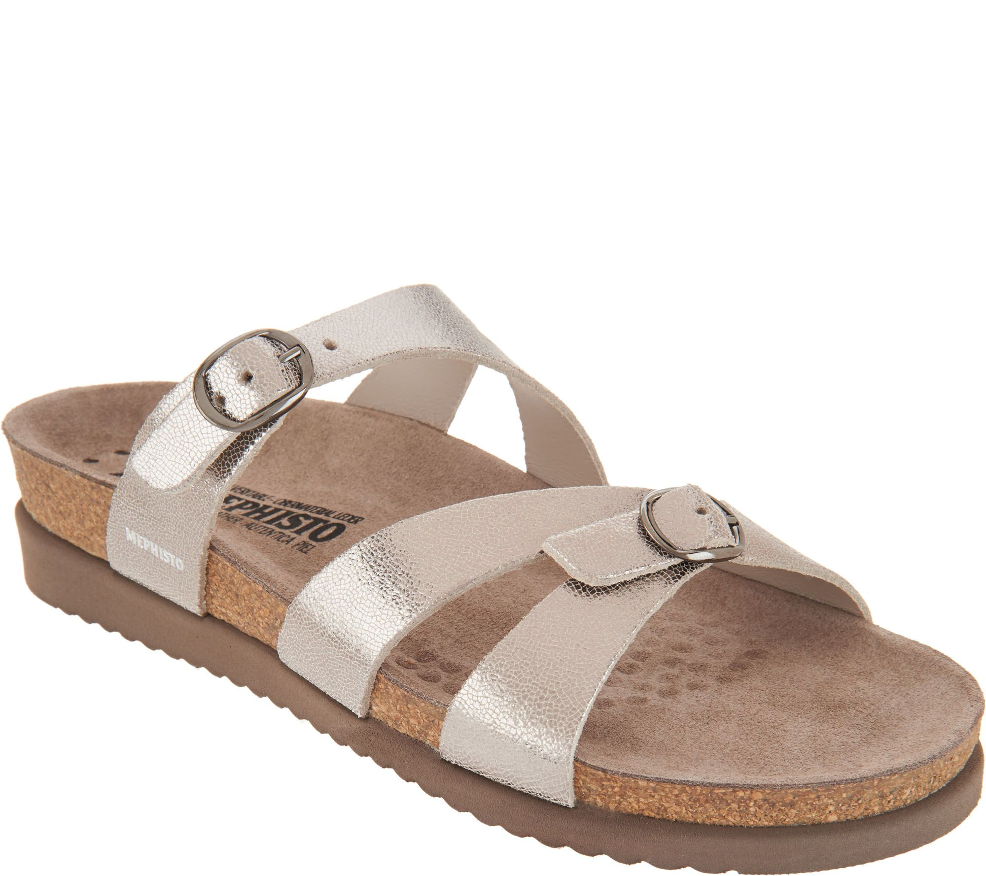 405f3cae396 MEPHISTO Leather Double Strap Slide Sandals - Hannel - Page 1 — QVC.com